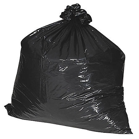 """Nature Saver 75% Recycled Heavy-Duty Trash Liners, 1.65 mil, 55-60 Gallons, 38"""" x 58"""", Black, Box Of 100"""