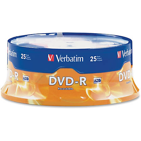 Verbatim® DVD-R Recordable Media, With Spindle, 4.7GB/120 Minutes, Pack Of 25
