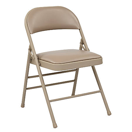 Office Star® Work Smart® Vinyl Mid-Back Folding Chairs, Tan, Pack Of 4