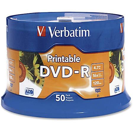 Verbatim® K44547 White Inkjet-Printable DVD-R Discs, Spindle Of 50