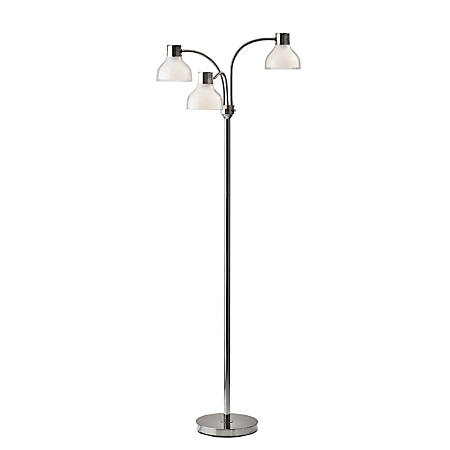 """Adesso® Presley 3-Arm Floor Lamp, 69""""H, Clear Shade/Polished Nickel Base"""
