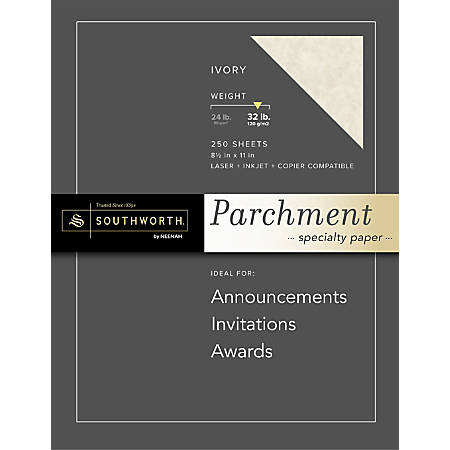 "Southworth® Parchment Specialty Paper, 8 1/2"" x 11"", 32 Lb, Ivory, Pack Of 250"