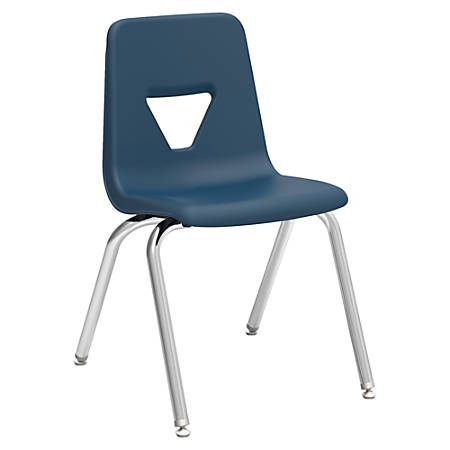"Lorell® Classroom Student Stack Chairs, 18""H Seat, Navy/Silver, Set Of 4"