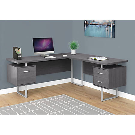 Monarch Specialties L-Shaped Corner Computer Desk With 2 Drawers, Gray Item  # 330074