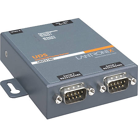 Lantronix 2 Port Serial (RS232/ RS422/ RS485) to IP Ethernet Device Server - International 110-240 VAC