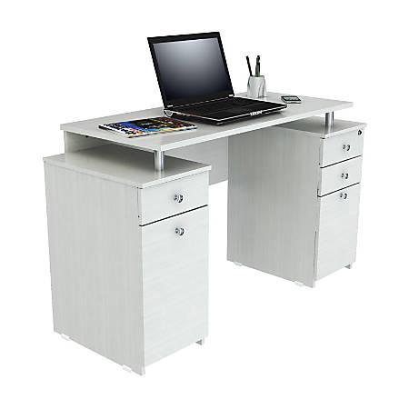 Inval Laura Standard Computer Desk, Laricina White