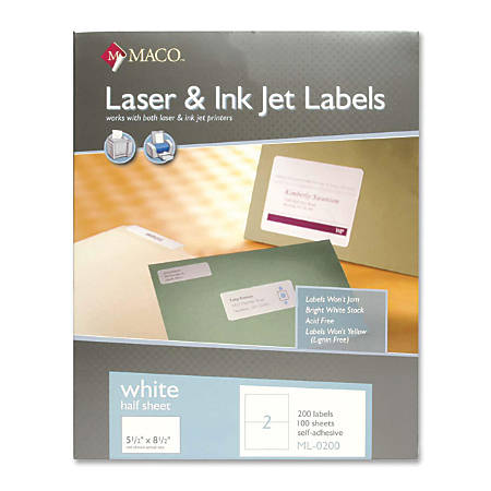 "MACO® White Inkjet All-Purpose Shipping Labels, MML-0200, 5 1/2"" x 8 1/2"", Pack Of 200"