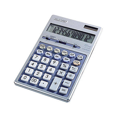 "Sharp Calculators Sharp EL339HB Desktop Display Calculator - Auto Power Source Switching - 12 Digits - LCD - Battery/Solar Powered - 1 - Button Cell - 6.9"" x 4.3"" x 0.7"" - Metal - 1 Each"