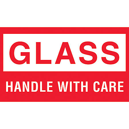"""Tape Logic® Preprinted Shipping Labels, DL1060, """"Glass™Handle With Care"""", 5"""" x 3"""", Red/White, Roll Of 500"""