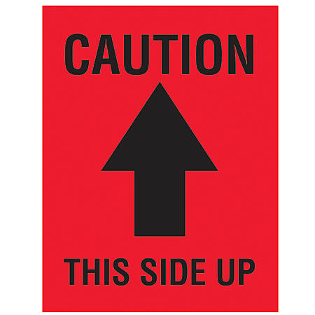 """Tape Logic® Preprinted Shipping Labels, DL1720, """"Caution This Side Up"""" Arrow, 3"""" x 4"""", Black/Red, Roll Of 500"""