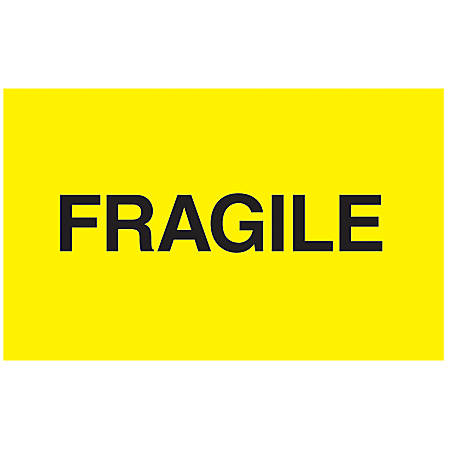 "Tape Logic® Preprinted Shipping Labels, DL2422, ""Fragile"", 5"" x 3"", Bright Yellow, Roll Of 500"