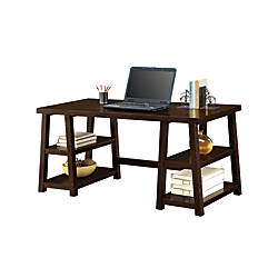 Whalen Triton Double Pedestal Desk Walnut By Office Depot
