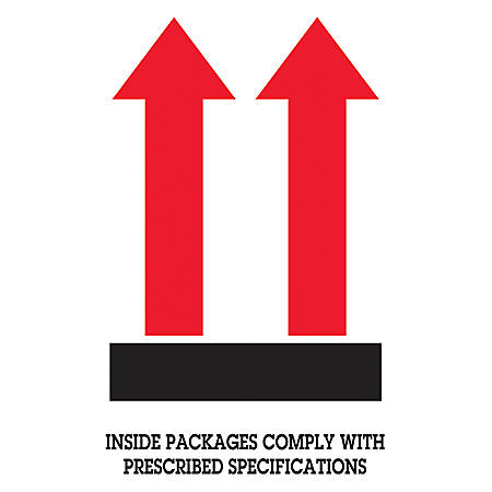 """Tape Logic® Preprinted Shipping Labels, DL1480, """"Inside Packages Comply With Prescribed Specifications"""" Arrow, 4"""" x 6"""", Black/Red/White, Roll Of 500"""