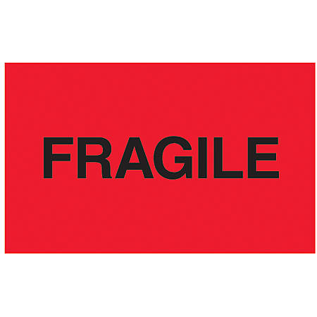 """Tape Logic® Preprinted Shipping Labels, DL2423, """"Fragile"""", 3"""" x 5"""", Fluorescent Red, Roll Of 500"""