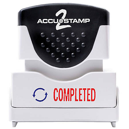 "ACCU-STAMP2® Pre-Ink Message Stamp, ""Completed"", Red/Blue"