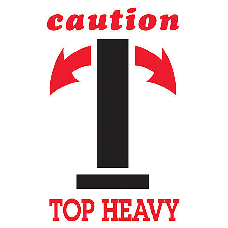 "Tape Logic® Preprinted Shipping Labels, DL1791, ""Caution Top Heavy"" Arrow, 4"" x 6"", Black/Red/White, Roll Of 500"