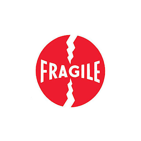 """Tape Logic® Preprinted Shipping Labels, DL1140, """"Fragile"""", 4"""" x 4"""", Red/White, Roll Of 500"""