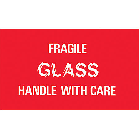"""Tape Logic® Preprinted Shipping Labels, DL1150, """"Fragile Glass Handle With Care"""", 3"""" x 5"""", Red/White/Blue, Roll Of 500"""