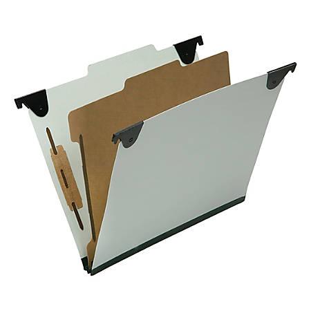 "SKILCRAFT 1-Divider Hanging Classification Folders - 1"" Folder Capacity - Letter - 8 1/2"" x 11"" Sheet Size - 2/5 Tab Cut - 1 Divider(s) - 25 pt. Folder Thickness - Pressboard, Kraft, Fiber - Light Green - Recycled - 10 / Box"
