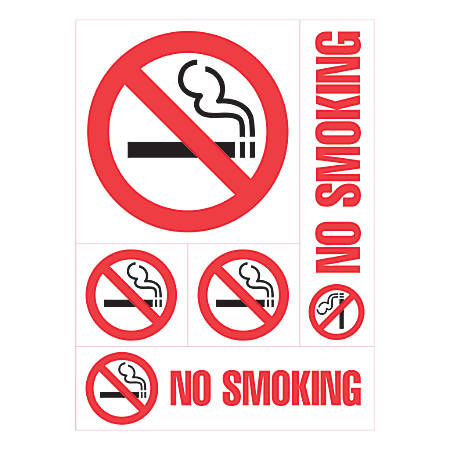 "Cosco Sign Vinyl Decals, No Smoking, 8"" x 12"", Sheet Of 5 Signs"