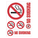 "Cosco Sign Vinyl Decals, No Smoking, 8"" x 12"", Sheet Of 5 Signs"