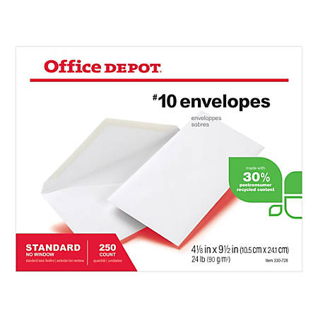 "Office Depot® Brand All-Purpose Envelopes, #10, 4 1/8"" x 9 1/2, 30% Recycled, White, Pack Of 250"