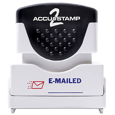 """ACCU-STAMP2® Pre-Ink Message Stamp, """"Emailed"""", Red/Blue"""