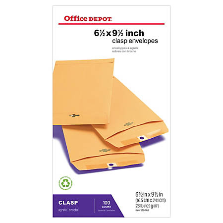 """Office Depot® Brand Clasp Envelopes, 6 1/2"""" x 9 1/2"""", Brown, Box Of 100"""