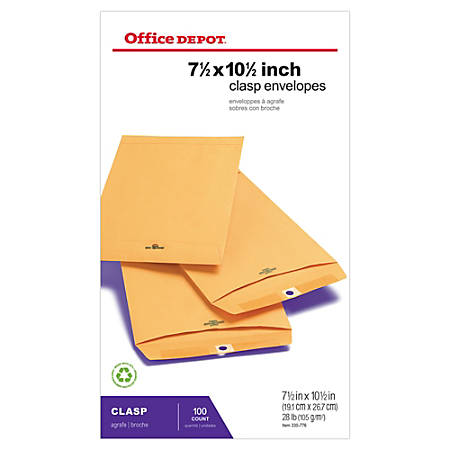 "Office Depot® Brand Clasp Envelopes, 7 1/2"" x 10 1/2"", Brown, Box Of 100"