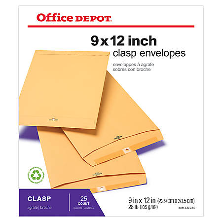 "Office Depot® Brand Clasp Envelopes, 9"" x 12"", Brown, Pack Of 25"