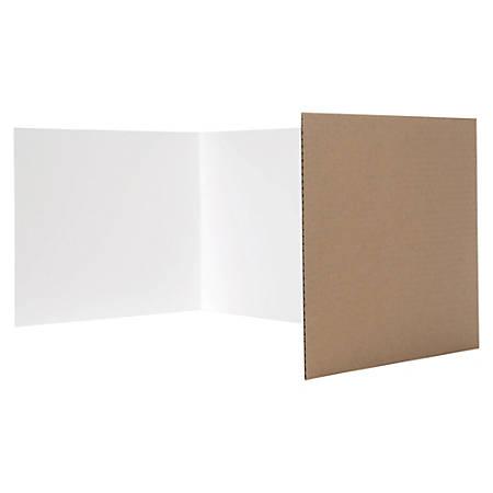 "Flipside White Tri-fold Study Carrel - 48"" Width x 12"" Height - Corrugated - White"
