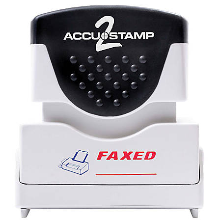 """ACCU-STAMP2® Pre-Ink Message Stamp, """"Faxed"""", Red/Blue"""