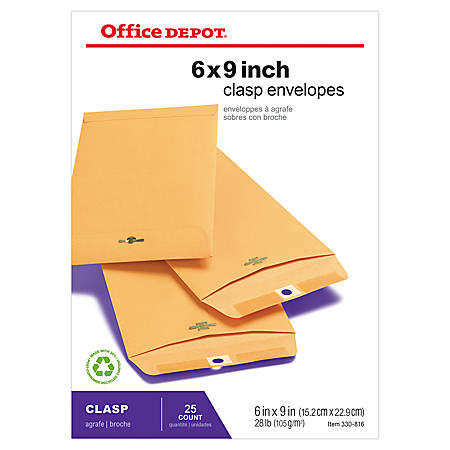 "Office Depot® Brand Clasp Envelopes, 6"" x 9"", Brown, Pack Of 25"