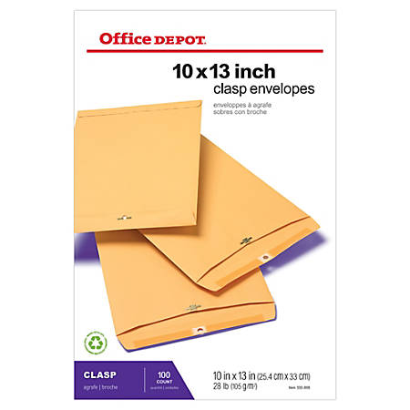 "Office Depot® Brand Clasp Envelopes, 10"" x 13"", Brown, Box Of 100"