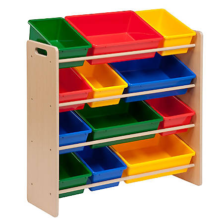 "Honey-can-do SRT-01602 Kids Toy Organizer and Storage Bins, Natural/Primary - 12 x Bin - 36"" Height x 12.5"" Width33.3"" Length - Wall Mountable - Natural Frame - Plastic, Wood"