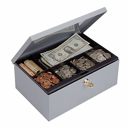 STEELMASTER® Cash Box with Security Lock, 7 Compartments, Gray