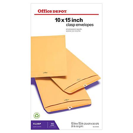 office depot brand clasp envelopes 10 x 15 brown box of. Black Bedroom Furniture Sets. Home Design Ideas