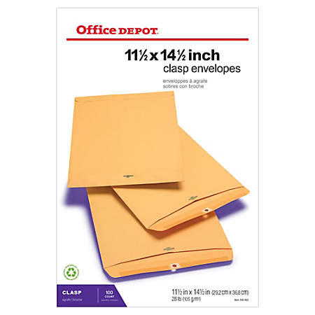 """Office Depot® Brand Clasp Envelopes, 11 1/2"""" x 14 1/2"""", Brown, Box Of 100"""
