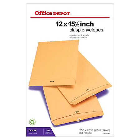 "Office Depot® Brand Clasp Envelopes, 12"" x 15 1/2"", Brown, Box Of 100"