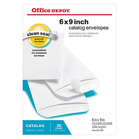 "Office Depot® Brand Clean Seal™ Catalog Envelopes, 6"" x 9"", White, Pack Of 25"