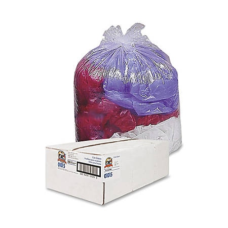 Genuine Joe Super Hexene Trash Can Liner, 40-45 Gallon, Clear, Box Of 250