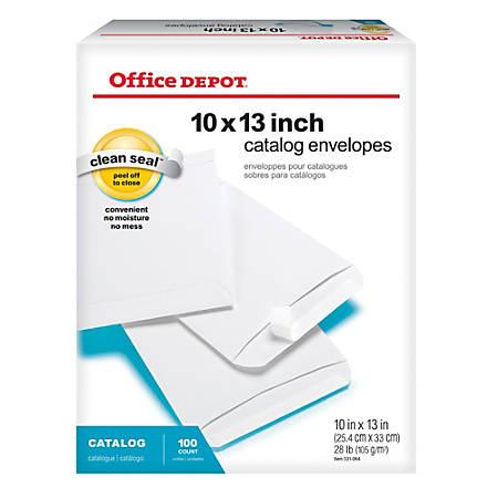 "Office Depot® Brand Clean Seal™ Catalog Envelopes, 10"" x 13"", White, Pack Of 100"