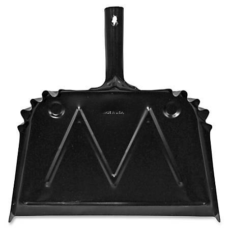 "Genuine Joe Heavy-duty Metal Dustpan - 16"" Wide - Metal - Black"
