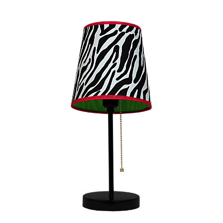"LimeLights Fun Prints Funky Table Lamp, 15""H, Zebra Shade/Black Base"