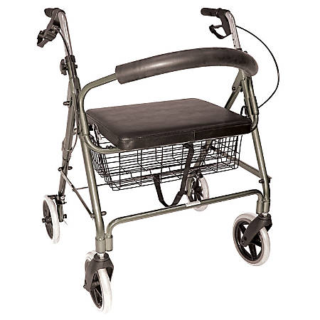 DMI® Lightweight Extra-Wide Aluminum Folding Rollator With Seat, Titanium