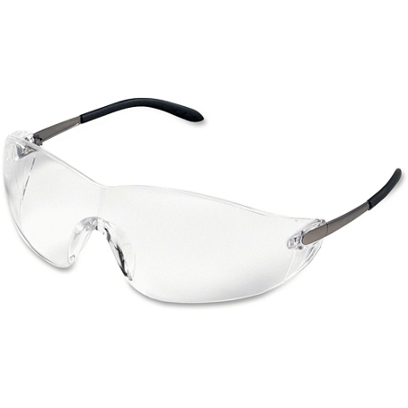 Crews Blackjack Wrap-around Safety Glasses, Chrome Plastic Frame, Clear Lens