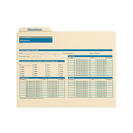 """ComplyRight Attendance Folders, 11 3/4"""" x 9 1/2"""", Manila, Pack Of 25"""