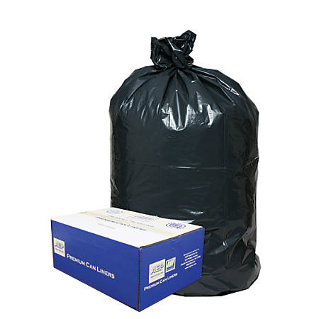 """Webster Classic 2-Ply 50% Recycled Trash Can Liners, 55-60 Gallons, 0.85 Mil Thick, 38"""" x 58"""", Box Of 100"""