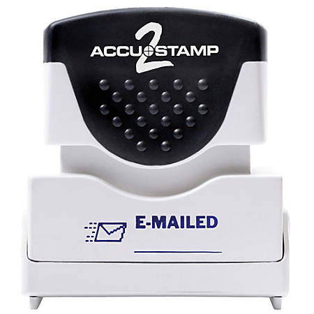 """ACCU-STAMP2® Pre-Ink Message Stamp, """"E-Mailed"""", Blue"""
