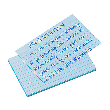 """Oxford® Color Index Cards, Ruled, 3"""" x 5"""", Blue, Pack Of 100"""